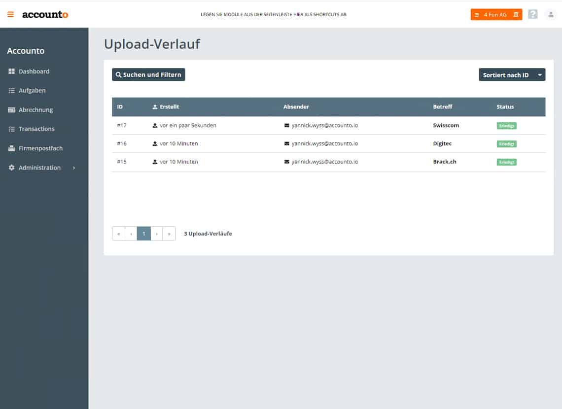 Screenshot Accounto-App Feature Belegaustausch