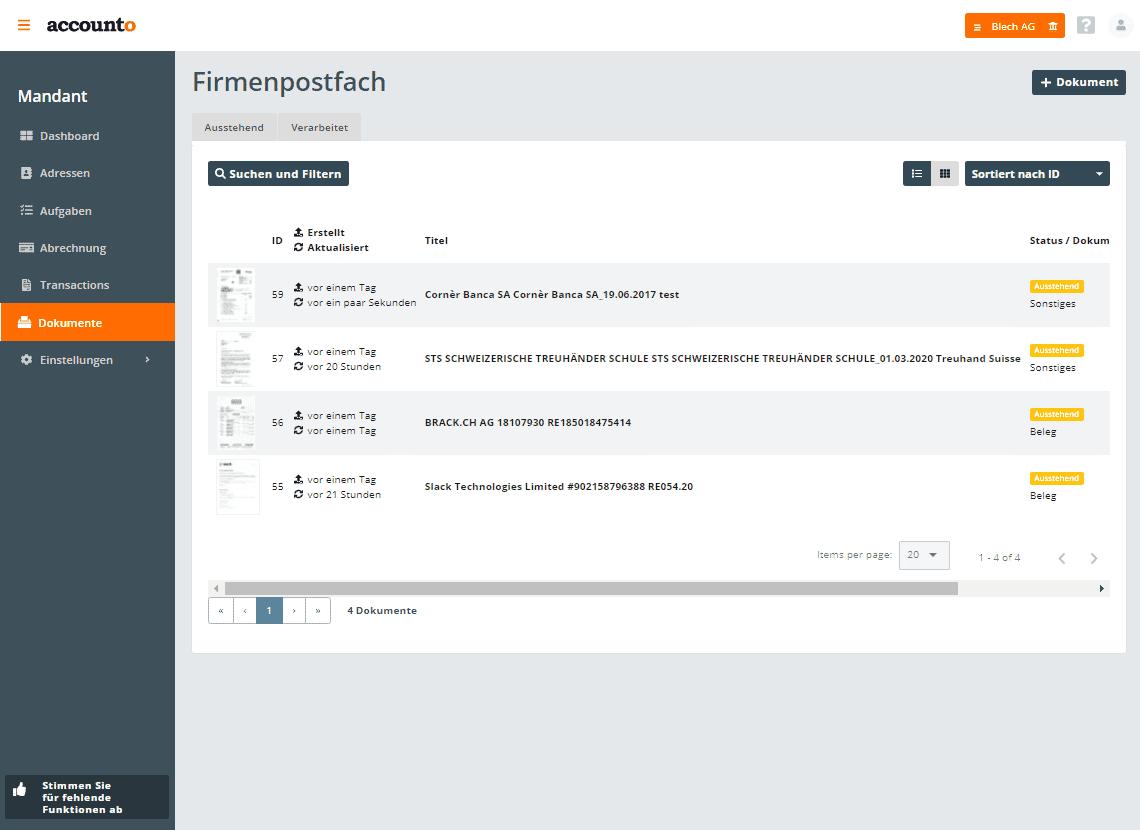 Screenshot Accounto-App Feature Dokumentenarchiv