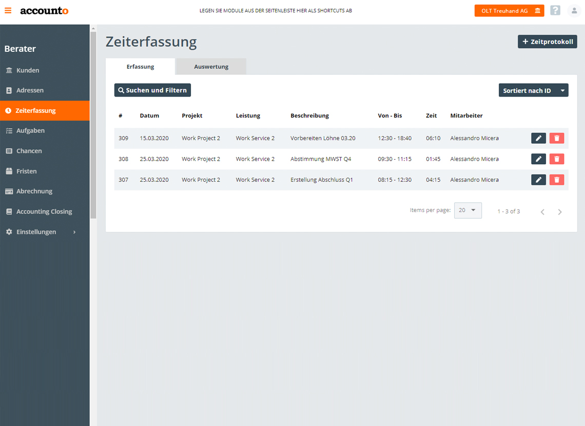 Screenshot Accounto-App Feature Zeiterfassung