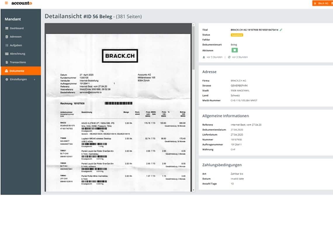 Screenshot Accounto-App Feature Digitale Belegverarbeitung