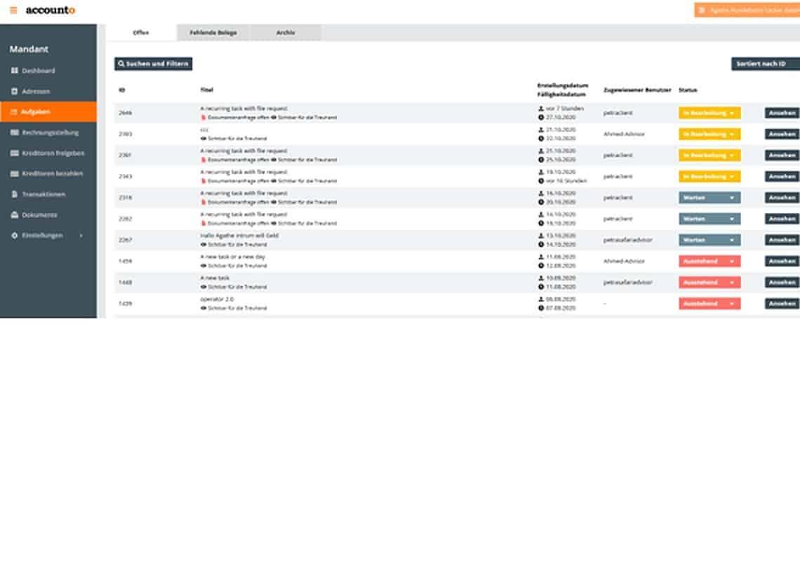 Screenshot Accounto-App Feature Zusammenarbeit mit Treuhänder