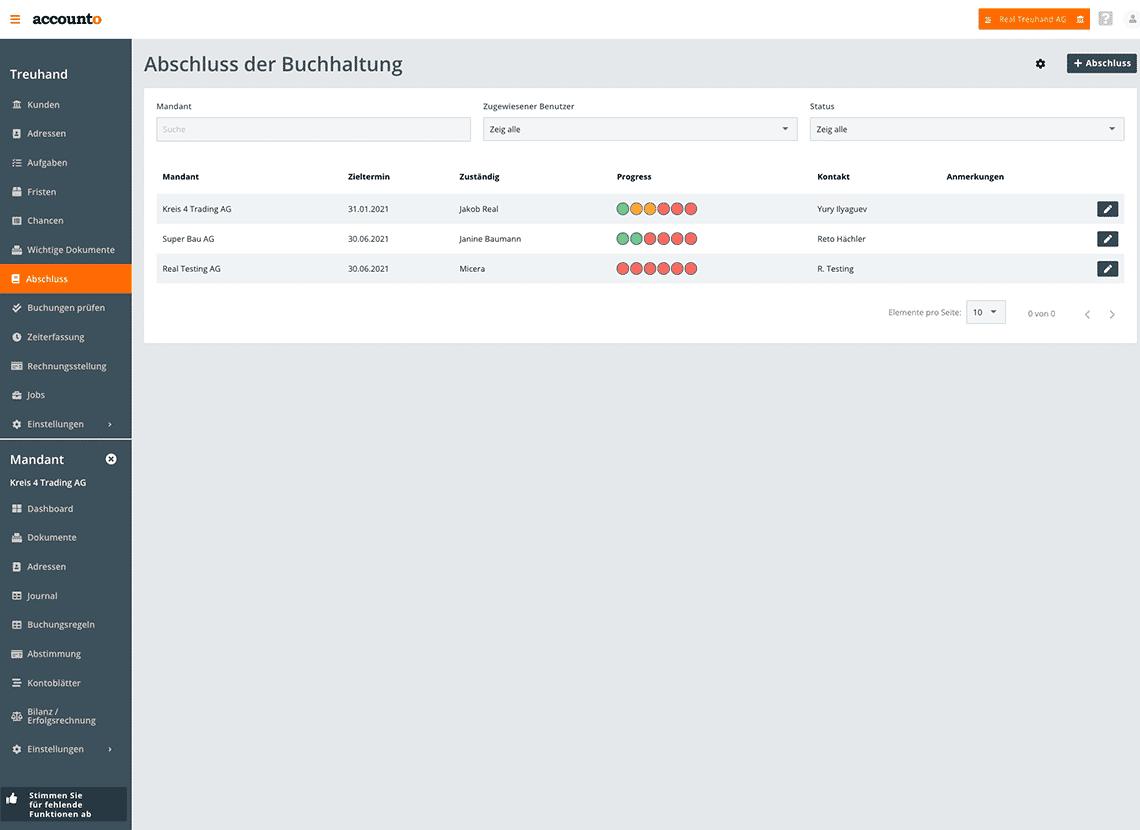 Auf dem Screenshot lässt sich erkennen, wie ein Treuhandunternehmen und ein KMU via Accounto den Abschluss strukturiert erledigen können