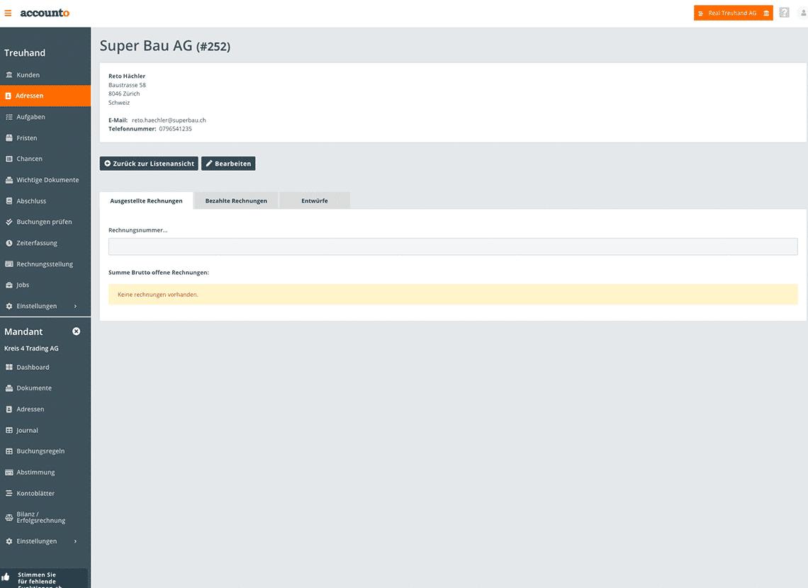 Der Screenshot zeigt das Adressen-Modul von Accounto, wobei eine Beispieladresse geöffnet ist.