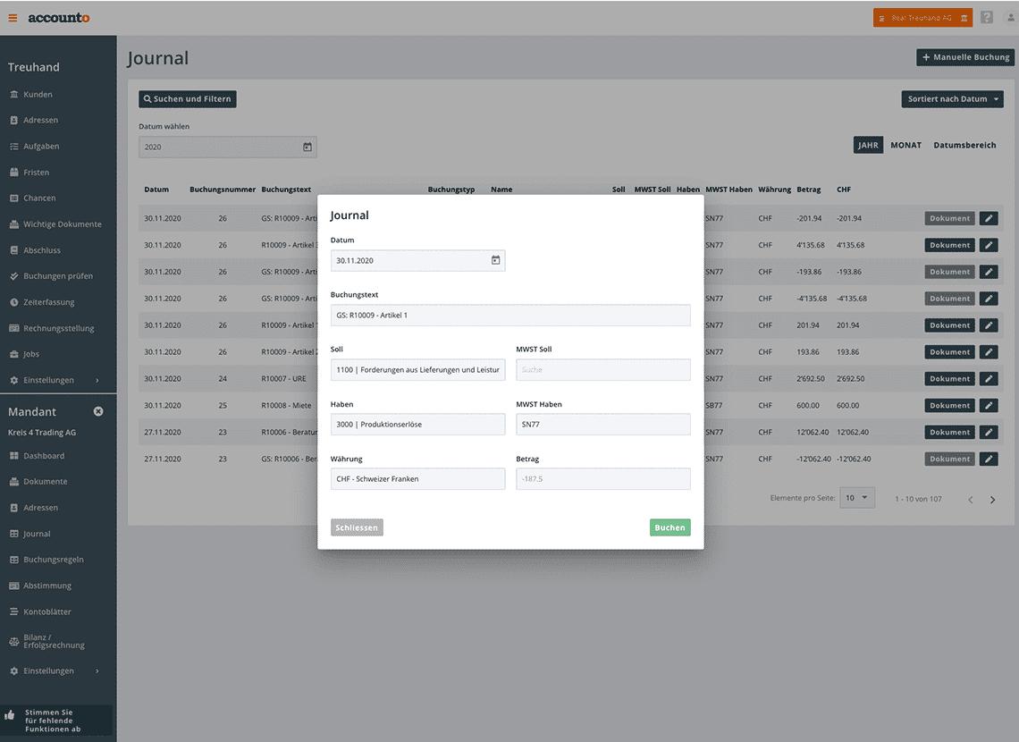 Auf dem Bild ist das Buchungsjournal der Accounto-App ersichtlich. Beim Screenshot erfasst eine Treuhänderin oder ein Treuhänder eine manuelle Buchung.