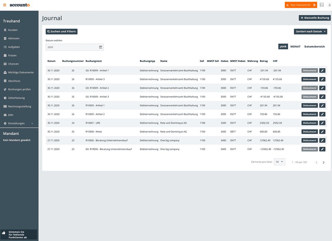 Der Screenshot visualisiert das integrierte FIBU-Modul von Accounto