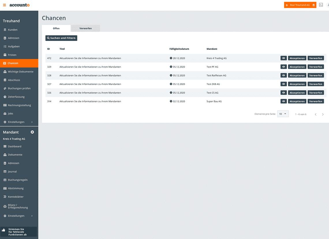 Der Screenshot visualisiert das Chancen-Modul von Accounto. Im Modul sieht der Treuhänder oder die Treuhänderin unterschiedlichen Chancen bzw. Risiken von einem Mandanten bzw. einer Mandantin. Dabei ist auch der aktuelle Arbeitstatus erkennbar.