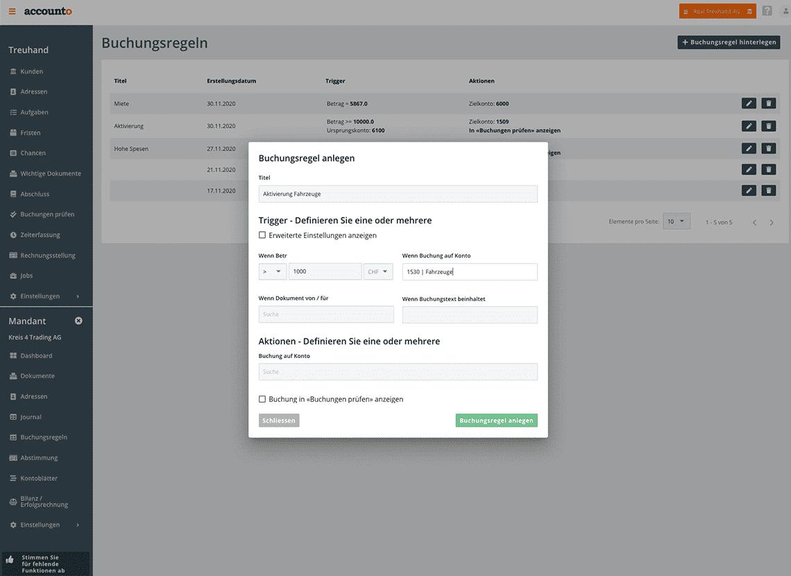 Ein Screenshot stellt die Möglichkeit vor, mit Accounto Buchungsregeln zu erfassen. Im Beispiel wird eine Regel für die automatische Verbuchung von Anlagevermögen gezeigt.
