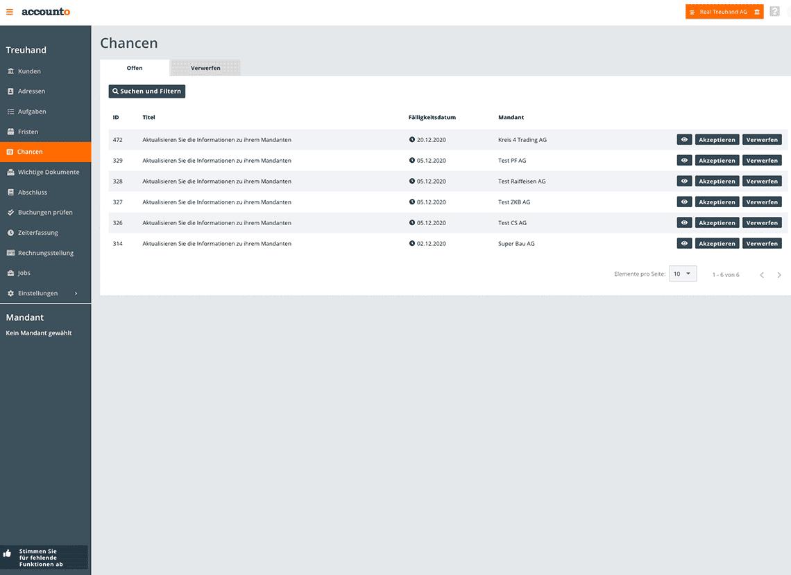 Als Beispiel für das Kundenerlebnis wird das einmalige Chancen-Modul gezeigt. Accounto analysiert die Kundendaten und erstellt dazu passende Optimierungsvorschläge.