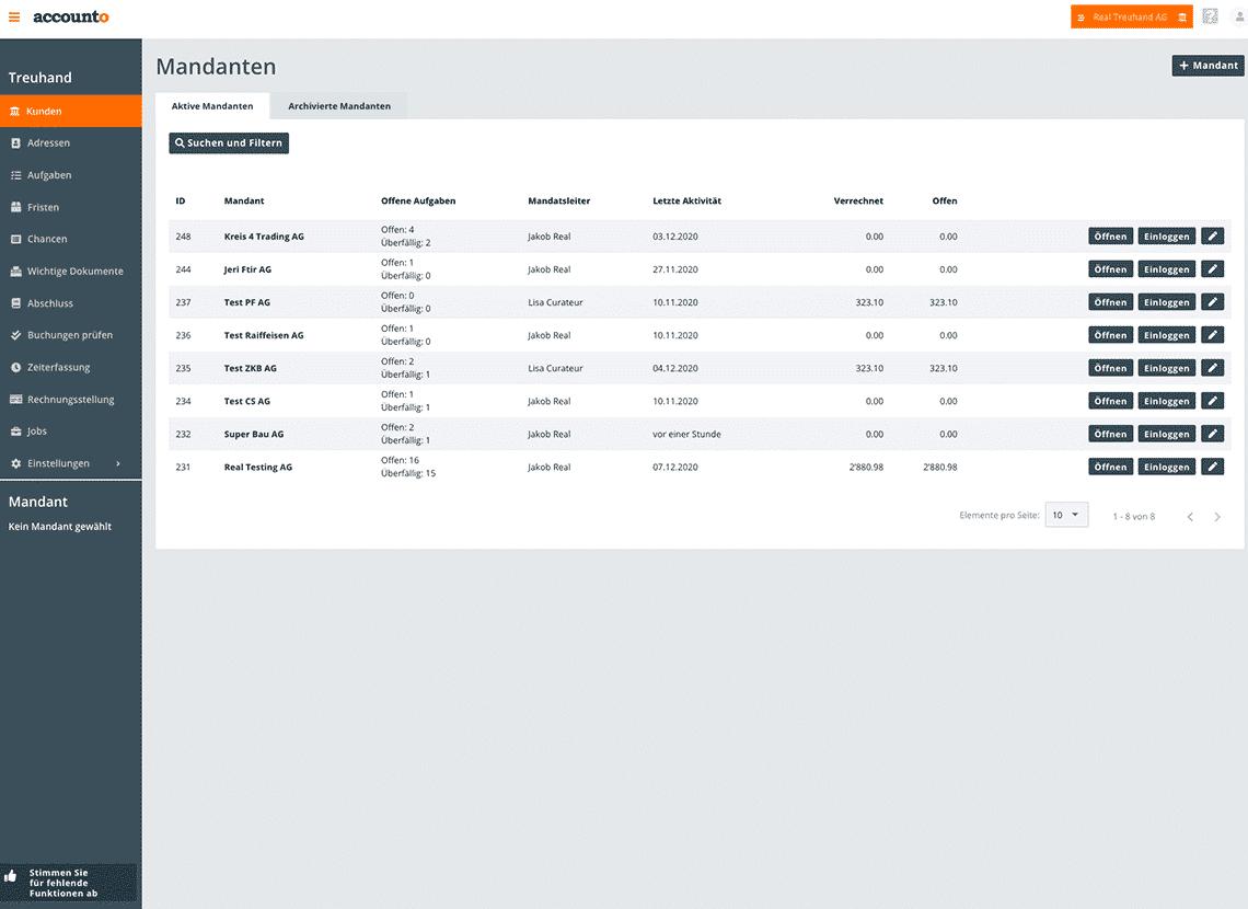 Der Screenshot bildet das CRM-Modul von Accounto ab.