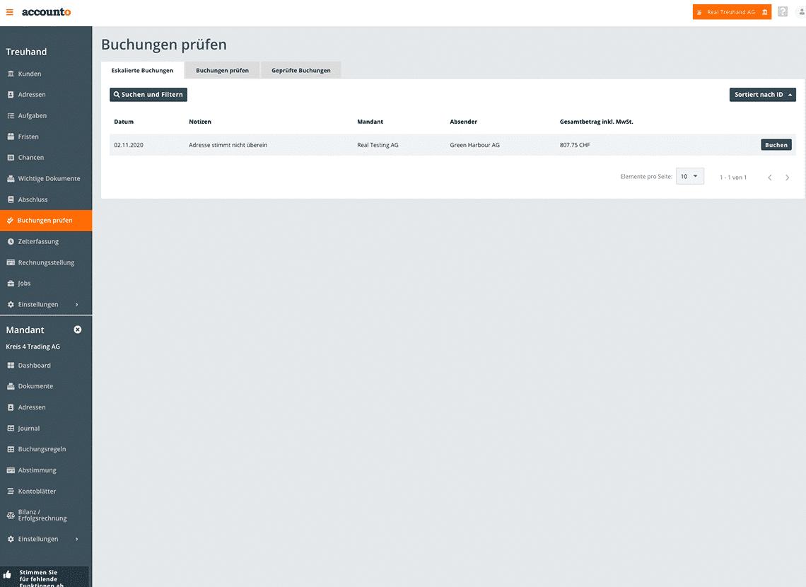 """Auf dem Bild ist die Accounto-App und das Modul """"Buchungen prüfen"""" ersichtlich. Der Screenshot zeigt eskalierte Belege, die Treuhänderinnen und Treuhänder näher anschauen müssen."""